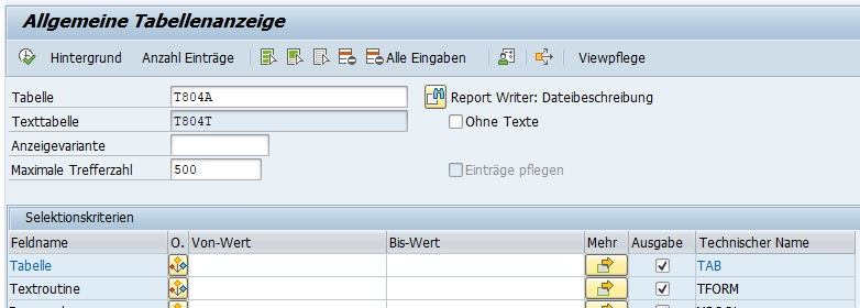 Alle Reporting-Tabellen sind in der Tabelle T804A enthalten. Im Data Browser mit dem Transaktionscode SE16N kann man also eine Übersicht über alle Reporting-Tabellen erhalten.