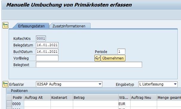 """Mit der Transaktion """"Manuelle Umbuchung von Primärkosten"""" (KB11N) kann man primäre Kosten in der Buchhaltung einem bestimmten Innenauftrag zuordnen. Eine Zuweisung auf Kostenstellen, PSP-Elemente oder Immobilienobjekte als Beispiele sind hierbei auch möglich."""