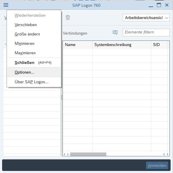 """Das Design bzw. Theme von SAP GUI kann man einfach in den Optionen ändern. Dafür öffnet man das SAP Logon und klickt links oben in die Ecke auf die drei Mittestrichen. Anschließend klickt man auf """"Optionen...""""."""