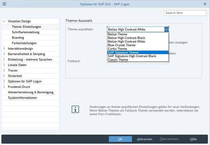 """Sobald man im SAP Logon die Optionen geöffnet hat, wählt man """"Visuelles Design > Theme-Einstellungen"""". In der Theme-Auswahl kann man im Dropdown-Feld nun das gewünschte Theme auswählen und damit das Belize-Theme ändern bzw. deaktivieren. Mein Favorit ist das SAP Signature Theme. Anschließend klickt man auf """"Übernehmen"""" und nach einem Neustart wird das ausgewählte Theme verwendet."""