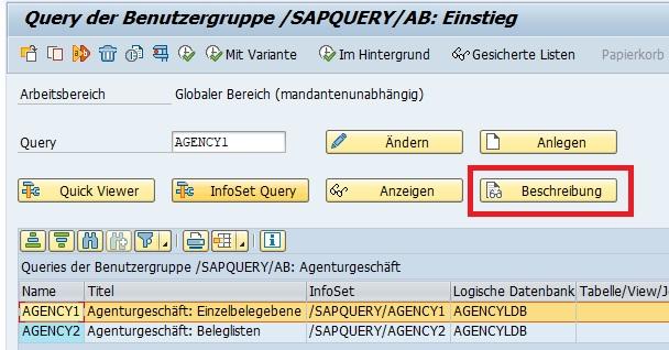 """Das Paket, in dem sich die Objekte befinden, findet man in der Beschreibung näher heraus. Möchte man als Beispiel herausfinden, in welchem Paket sich eine SAP Query befindet, so öffnet man die Transaktion SQ01 (SQ02 für Infosets und SQ03 für Benutzergruppen). Anschließend wählt man die gewünschte SAP Query aus und klickt auf den Button """"Beschreibung""""."""