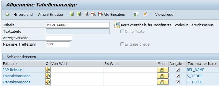 Die Korrekturtabelle für modifizierte Transaktionscodes in Bereichsmenüs lautet PRGN_CORR2. Diese Tabelle enthält die Transaktionscodes, die es ab einem bestimmten Release nicht mehr gibt und zeigt den neuen Transaktionscode auf.  Die Tabelle PRGN_CORR2 besteht aus drei Spalten:  SAP-Release Alte Transaktionscode Neue Transaktionscode