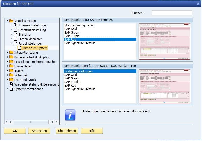 """Man kann die Farbe der SAP GUI abhängig vom System bzw. Mandanten setzen. Das ist vor allem dafür sehr nützlich, um sofort zu erkennen, dass man im Produktivsystem ist und mir besonders vorsichtig arbeiten soll. Empfehlenswert kann man das Produktivsystem mit der """"SAP Red"""", also roten, Farbe einstellen. Vor allem für SAP Berater ist das sehr nützlich, um im Produktivsystem trotz weitreichender Berechtigungen nicht zu testen."""