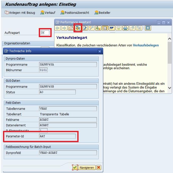 """Um einen Standardparameter setzen zu können, muss man die Parameter-ID des technischen Feldes herausfinden. Das kann man auch einfach mit der F1-Taste durchführen. Beispielsweise möchte man einen Standardparameter für die Auftragsart setzen. Hierzu ruft man die Transaktion VA01 auf, klickt in das Feld """"Auftragsart"""", drückt die F1-Taste und klickt auf den Button für die technischen Informationen. Im Feld """"Parameter-ID"""" befindet sich die Parameter-ID, in diesem Beispiel """"AAT""""."""