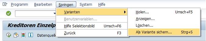 """Die SAP Variante mit den Eingaben legt man an, indem man """"Springen > Varianten > Als Variante sichern"""" wählt. Alternativ kann man einfach auf Speichern oder Strg + S drücken."""