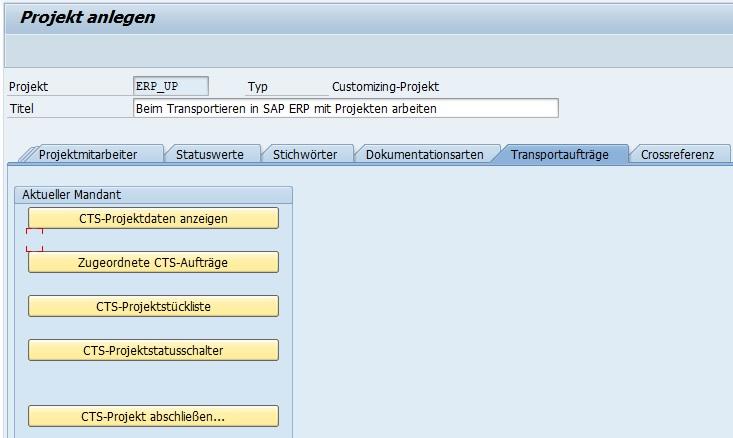 Nach dem Aktivieren, werden die ausgegrauten Button aktiviert. Wenn man beim Transportieren in SAP ERP mit Projekten arbeiten möchte, sind diese Funktionen erforderlich und sehr nützlich.