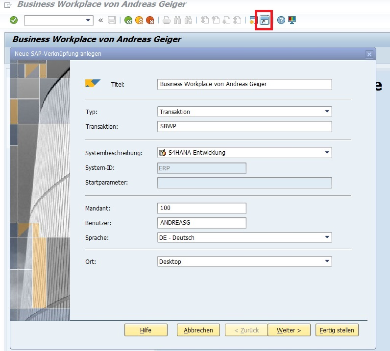 Um die Tastenkombination für eine Transaktion zu erstellen, benötigt man eine Desktopverknüpfung. Hierfür startet man seine Transaktion und wählt in der Menüleiste den entsprechend Button aus.