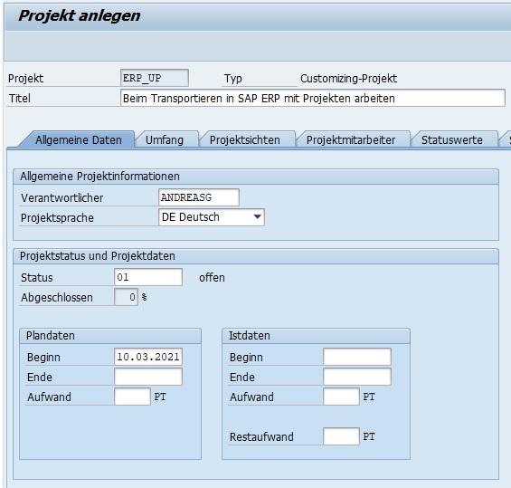 Daraufhin öffnet sich ein Fenster, der die Eingabe der Detailinformationen für das Projekt ermöglicht. Die Dateneingabe ist auf verschiedene Tabs aufgeteilt. Neben den allgemeinen Daten und dem Umfang des Projektes kann man auch einzelne Projektmitarbeiter dem Projekt zuordnen.