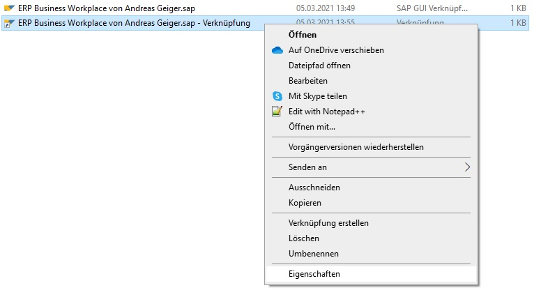 """Man muss man eine Verknüpfung von der SAP-Desktopverknüpfung erstellen. Hierfür wählt man """"Rechtsklick > Verknüpfung erstellen"""". Nun ändert man die Verknüpfungseigenschaften bzw. gibt die Tastenkombination in der Verknüpfung an. Hierfür wählt man """"Rechtsklick > Eigenschaften"""" auf der erstellen Verknüpfung."""
