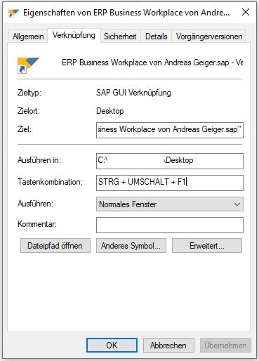 """Anschließend klickt man in das Feld """"Tastenkombination"""" und drückt die Tastenkombination, die man für die Ausführung der Transaktion wünscht. Als Beispiel wird in diesem Fall die Transaktion SBWP ausgeführt, wenn man """"STRG + Umschalt + F1"""" drückt."""