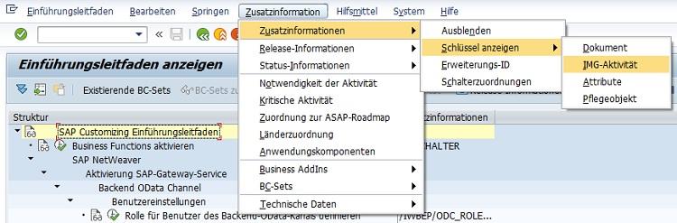 """Gerade im Customizing vom SAP-System benutzt man den Einführungsleitfaden in der Transaktion SPRO. Im Standard ist die Spalte mit den Zusatzinformationen leer. Das heißt, der Transaktionscode wird nicht angezeigt. Wie beim SAP Easy Access Menü bzw. Bereichsmenü kann man auch im Einführungsleitfaden den Transaktionscode anzeigen lassen. Hierfür startet man einfach die Transaktion SPRO und wählt """"Zusatzinformationen > Schlüssel anzeigen > IMG-Aktivität"""". Anschließend wird in der Spalte """"Zusatzinformationen"""" der Transaktionscode angezeigt."""