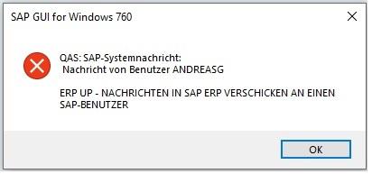 Nach der Ausführung des Funktionsbausteins TH_POPUP erhält der SAP-Benutzer sofort ein Fenster mit der eingetragenen Nachricht. Es wird auch angezeigt von welchem SAP-Benutzer diese Nachricht versendet wurde.