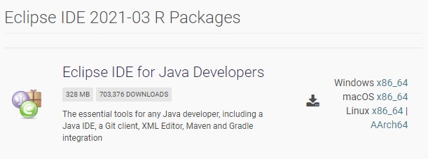 """Zurzeit ist ist die Version """"Eclipse IDE 2021-03 R Packages"""" aktuell. Diese wird deshalb auch heruntergeladen und installiert. Dafür muss man auf den entsprechend Link entsprechend seines Betriebssystems klicken und die ZIP-Datei herunterladen."""