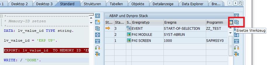 """Sobald man das gewünschte Programm im Debugger geöffnet hat, kann man ein bereits geöffnetes Werkzeug wechseln. Beispielsweise kann man den """"ABAP und Dynpro Stack"""" wechseln. Hierfür klickt man im Fenster auf der rechten Seite auf den Button """"Ersetze Werkzeug""""."""
