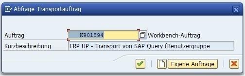 Anschließend führt man den Report aus, indem man auf den Ausführen-Button oder die F8-Taste klickt. Daraufhin muss man einen Transportauftrag angeben, der auch letztlich in das Zielsystem transportiert wird.