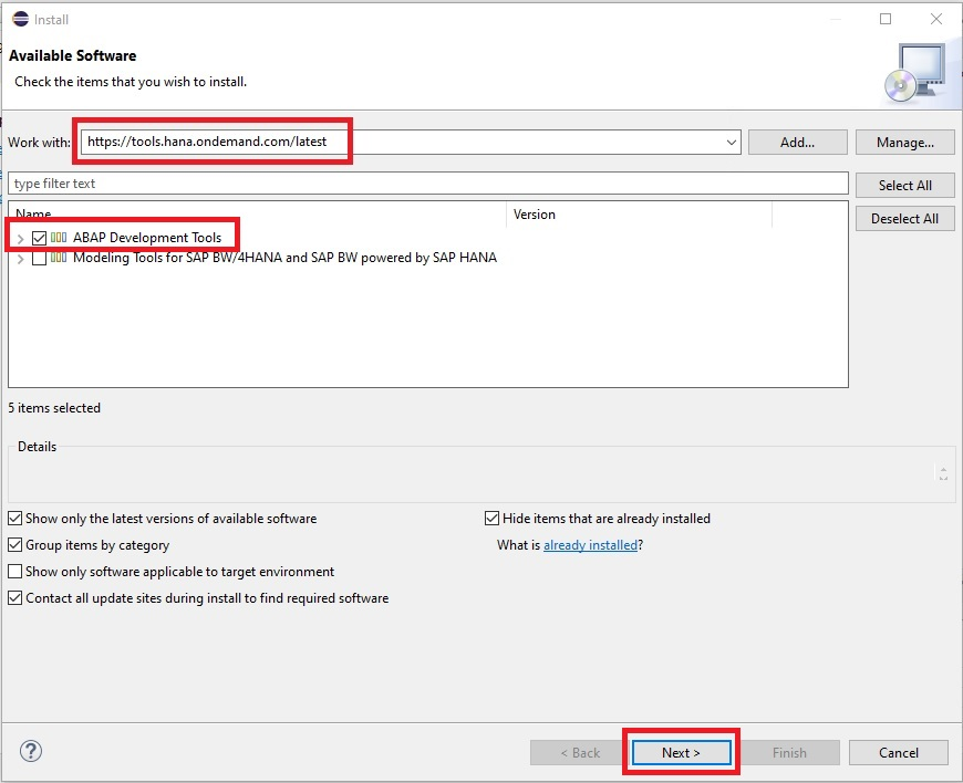 """Anschließend öffnet sich ein neues Fenster, indem man nach der gewünschten Software suchen kann. Hier gibt man die URL """"https://tools.hana.ondemand.com/latest"""" ein und drückt Enter, um nach den verfügbaren Funktionen zu suchen. Anschließend wählt man """"ABAP Development Tools"""" aus und klickt auf den Button """"Next"""". Die restlichen Checkboxes kann man vorausgewählt lassen."""