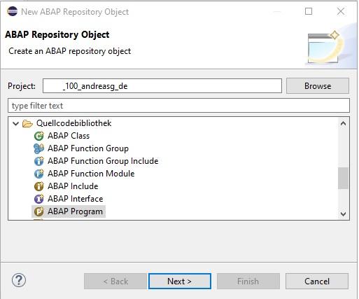 """Nun kann man bestehenden ABAP-Code verändern oder ein neues ABAP-Programm anlegen. Hierfür wählt man sein Paket aus (oder erstellt vorher eins) und wählt über die rechte Maustaste """"New > Other ABAP Repository Object"""" """"ABAP Program"""" unter """"Quellcodebibliothekt"""" aus."""