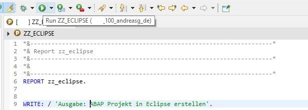 """Anschließend kann man in der Entwicklungsumgebung Eclipse seinen ABAP-Code schreiben. Man hat dabei ebenfalls die Syntaxprüfung und Aktivieren-Funktion. Sein aktiviertes Programm kann man über """"Run As ABAP Application"""" oder der F8-Taste ausführen."""