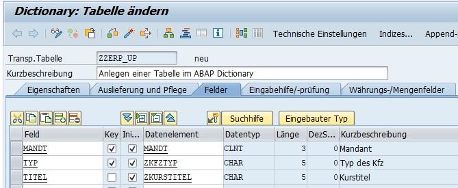 """Der nächste Tabreiter stellt """"Felder"""" dar. Hier gibt man die Tabellenfelder mit dem Namen und Datenelement an. Dabei gibt man an, ob es sich bei dem Feld um ein Schlüsselfeld handelt und ob der Wert in der Spalte leer sein darf."""