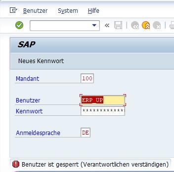 Bei einer Anmeldung am SAP-System findet man am einfachsten und schnellsten heraus, ob ein SAP-Benutzer gesperrt ist. Ist ein SAP-Benutzer gesperrt, erhält man in der Statusleiste eine Fehlermeldung bei der Anmeldung.