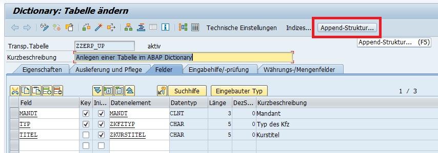 """Um mit einer Append-Struktur eine aktivierte Tabelle zu erweitern, gibt man im ABAP Dictionary (Transaktion SE11) die Tabelle an und geht über den entsprechenden Button in den Änderungsmodus. Anschließend klickt man auf den Button """"Append-Struktur..."""" bzw. drückt die F5-Taste."""