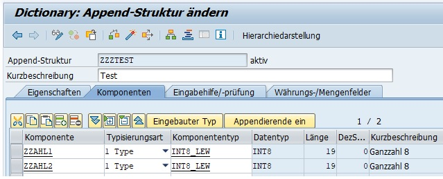 Nachdem man die Felder angegeben hat, gibt man die Erweiterungskategorie an und aktiviert die Append-Struktur.