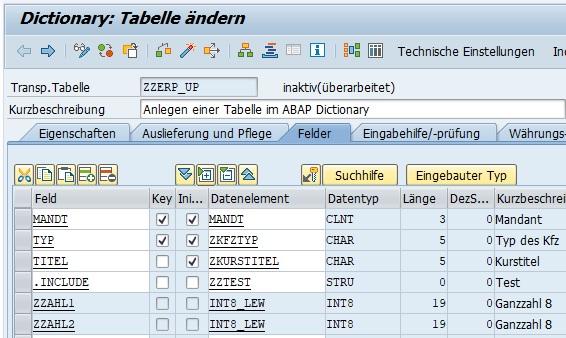 """Anschließend gibt man seine Struktur an und erweitert damit seine Tabelle. Falls man nun feststellt, dass man die Struktur noch nicht erstellt hat, kann man einfach in einem neuen Modus die Struktur im ABAP Dictionary erstellen. Die Struktur wird über den Radio-Button """"Datentyp"""" erstellt. Nach Klick auf den Anlegen-Button kann man die Funktion """"Struktur"""" auswählen."""