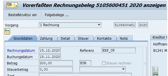 Man kann die Änderung auch in einer Standard-Transaktion für die Anzeige von SAP-Belegen überprüfen. Ruft man die Transaktion MIR4 auf und zeigt sich den geänderten Beleg an, werden die Änderungen korrekt angezeigt.