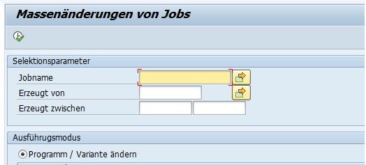Der Report BTC_MASS_JOB_CHANGE ist bei der Änderungen von mehreren Jobs sehr zu empfehlen. Hierbei kann man bei mehreren Jobs das Programm, die Variante, den SAP-Benutzer und den Server ändern.