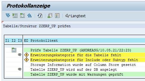 """Klickt man auf den Prüfen-Button bzw. """"Strg + F2"""" erhält man Warnungen, die in der Protokollanzeige im Detail angezeigt werden. Unter anderem steht, dass eine Erweiterungskategorie für die Tabelle fehlt."""
