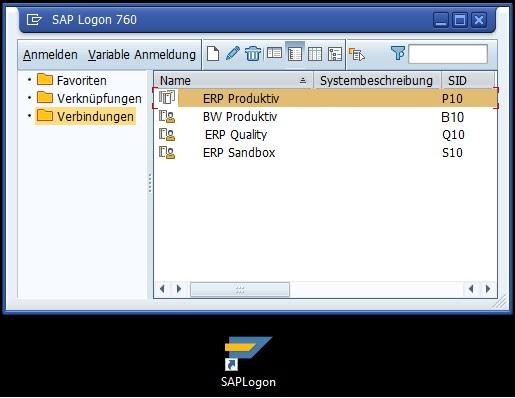 Das SAP Logon ist das Programm, das die SAP GUI für die Bedienung des SAP-Systems verwendet. Hier sind die Anmeldedaten hinterlegt und darüber findet eine Anmeldung im System statt.
