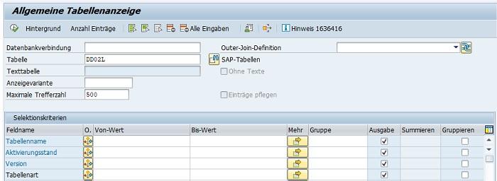 Außerdem gibt es noch die Transaktion SE16H für den Data Browser. Diese Transaktion ist vor allem dann zu empfehlen, wenn man eine SAP HANA-Datenbank verwendet. Denn mit dieser Transaktion ist es möglich, direkt aus dem ERP-System auf Daten der SAP-HANA-Datenbank zuzugreifen und anzuzeigen. Für die vollumfängliche Verwendung benötigt man weitere SAP-Hinweise, die im  SAP-Hinweis 1636416 aufgeführt sind.