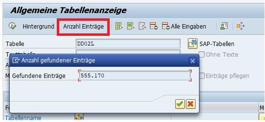 """Im Data Browser kann man sich einen schnellen Überblick über die Anzahl der Einträge in der Datenbanktabelle machen, indem man die Tabelle eingibt und auf den Button """"Anzahl Einträge"""" oder die F7-Taste drückt."""