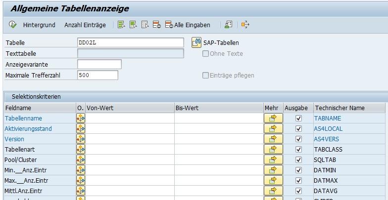 Ich persönlich nutze für den Data Browser die Transaktion SE16N, da sie komfortabler ist als die Transaktion SE16. Hierbei kann man beim Aufruf sofort die Selektionskriterien angeben. Außerdem wird die Ausgabe im ALV Grid visuell übersichtlicher dargestellt.