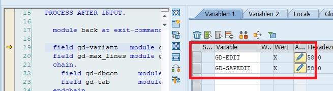 Im Debugging kann man die Variablen gd-edit und gd-sapedit auf 'X' setzen, um Werte im Data Browser zu ändern.