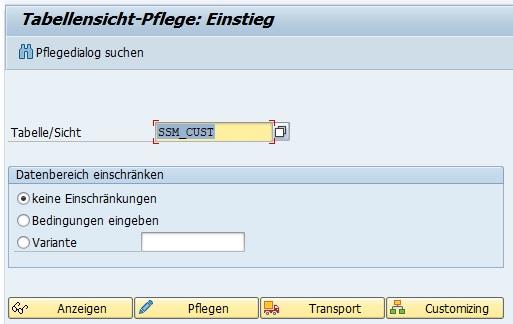 Nun ist die Datei in der Datenbank gespeichert und muss nur noch korrekt in den Einstellungen eingetragen werden. Hierfür pflegt man die Tabelle SSM_CUST in der Transaktion SM30.