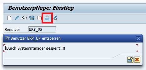 """Man kann über die Transaktion SU01 einfach und schnell herausfinden, ob ein SAP-Benutzer gesperrt ist. Sobald man die Transaktion SU01 aufruft, gibt man den SAP-Benutzer im Feld """"Benutzer"""" ein und klickt auf den Button """"Sperren / Entsperren"""" oder die Tastenkombination """"Strg + F5"""". Anschließend bekommt man eine Info, ob und warum der SAP-Benutzer gesperrt ist."""