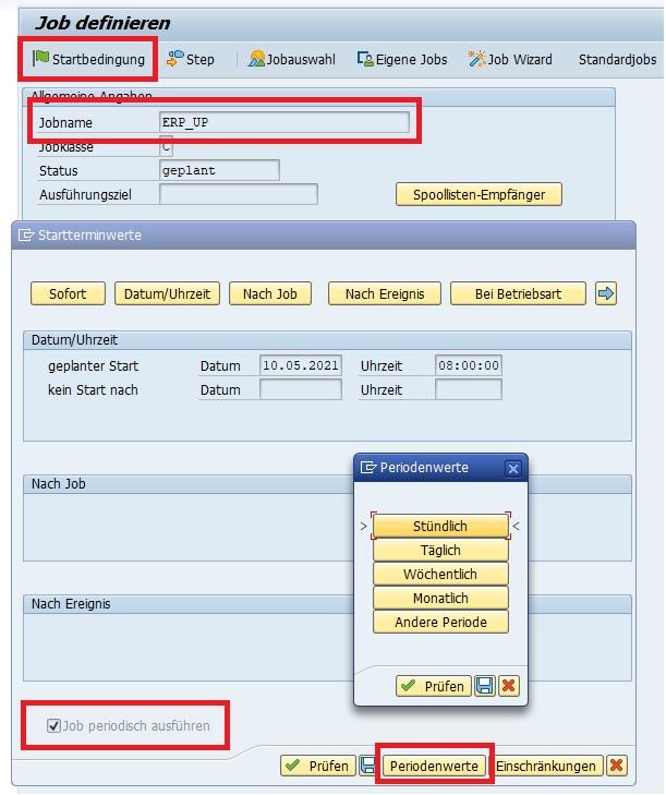 """Ales nächstes definiert man die Startbedingungen. Hierbei wird angegeben, wann der Job das erste mal ausgeführt werden soll. Zudem hinaus kann man festlegen, dass der Job periodisch (also in einem bestimmten Zeitintervall) regelmäßig das ABAP-Programm ausführt. Dafür klickt man auf den Button """"Startbedingung angeben"""" oder die F5-Taste."""