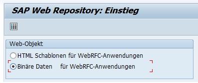 """Um das Anmeldebild im SAP GUI ändern zu können, muss man die Datei auf der Datenbank speichern. Zuerst ruft man die Transaktion SMW0 auf. Dort wählt man die Option """"Binäre Daten für WebRFC-Anwendungen"""" aus, drückt Enter, den Button """"Suche"""" oder die F8-Taste."""