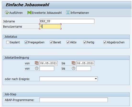 Dabei kann man die Jobübersicht nach bestimmten Selektionskriterien filtern. Kennt man den Jobnamen ist das die einfachste Möglichkeit, nach dem Job zu filtern. Ansonsten empfehle ich nach dem Job-Step bzw. dem ABAP-Programm zu suchen.