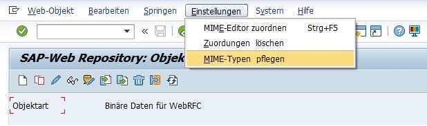 """Man kann aber direkt über die Transaktion SMW0 den fehlenden MIME-Typ anlegen. Dafür wählt man """"Einstellungen > MIME-Typen pflegen"""" in der Menüleiste und kann im angezeigten Fenster den MIME-Typ anlegen. Achte darauf, dass Du unterstütze MIME-Typen verwendest."""