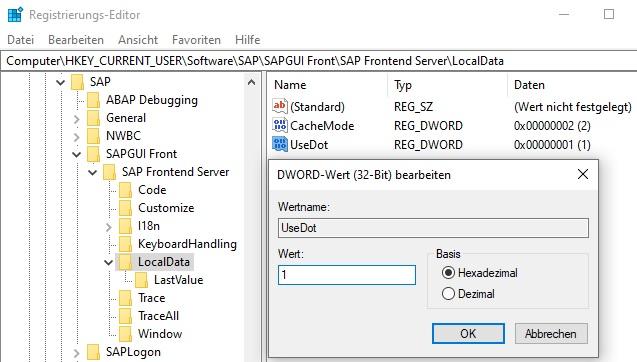 """Zusammengefasst ist die Ursache dieses Problems eine veränderte Syntax von SQL-Anweisungen. In Zahlen wird statt Komma ("""","""") ein Punkt (""""."""") verwendet. Auf diese Weise sind SQL-Anweisungen in der SAP GUI nicht mehr aufrufbar und lösen die Fehlfunktion in der Historie aus.  Mit folgenden Schritten kann man das Problem einfach lösen:  Registrierungs-Editor öffnen (""""regedit"""") Pfad öffnen: HKEY_CURRENT_USER\Software\SAP\SAPGUI Front\SAP Frontend Server\LocalData DWORD-Wert (32-Bit) """"UseDot"""" auf 1 setzen oder anlegen"""